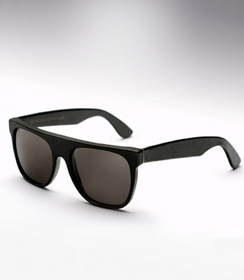 Super Flat Top Sunglasses Black Leather Super Flat Black Leather