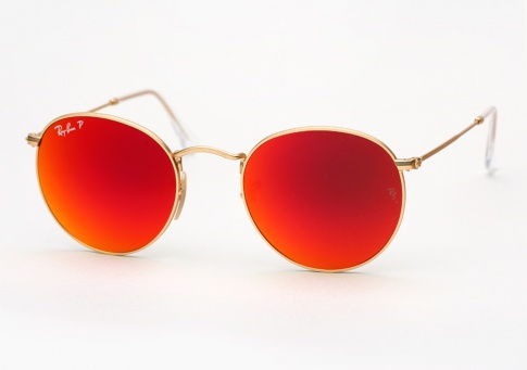 Ray Ban Rb 3447 Round Metal Sunglasses Gold W Red