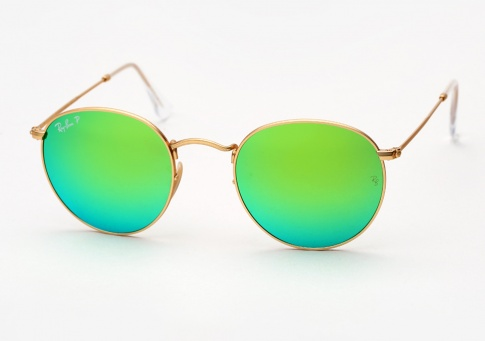 4bf5556eb Ray Ban RB 3447 Round Metal Sunglasses - Gold w/ Green Mirror Polarized